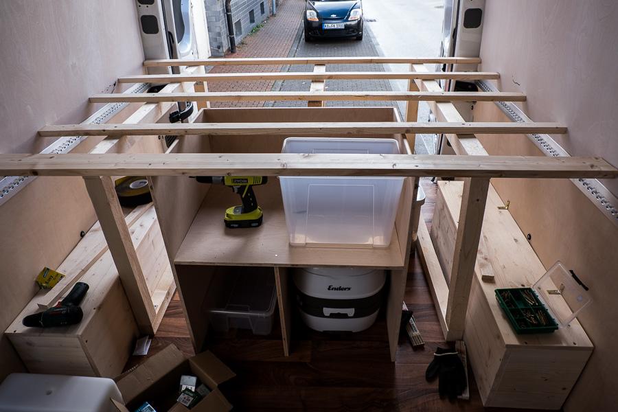 Bett und Stauraum für das Wohnmobil