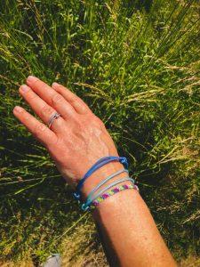 Surfer Bracelet Set blau hellblau pink gelb