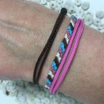 Surfer Bracelet Pink Blue Brown White