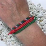 Surfer Bracelet Set Green Red Grey