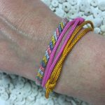 Surfer Bracelet Set Pink Mustard Grey