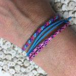 Surfer Bracelet Set Violet Blue Pink