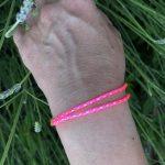 Surfer bracelet pink white